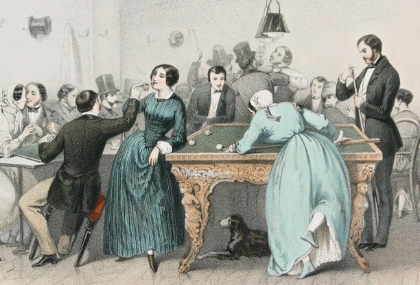 women playing billiards and smoking with men