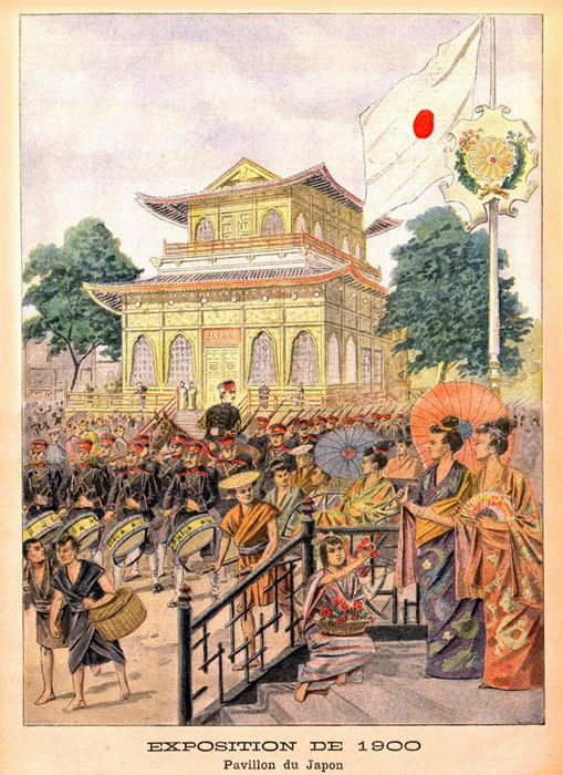 Postcard depicting the Japan Pavilion at the 1900 Exposition Universelle in Paris.