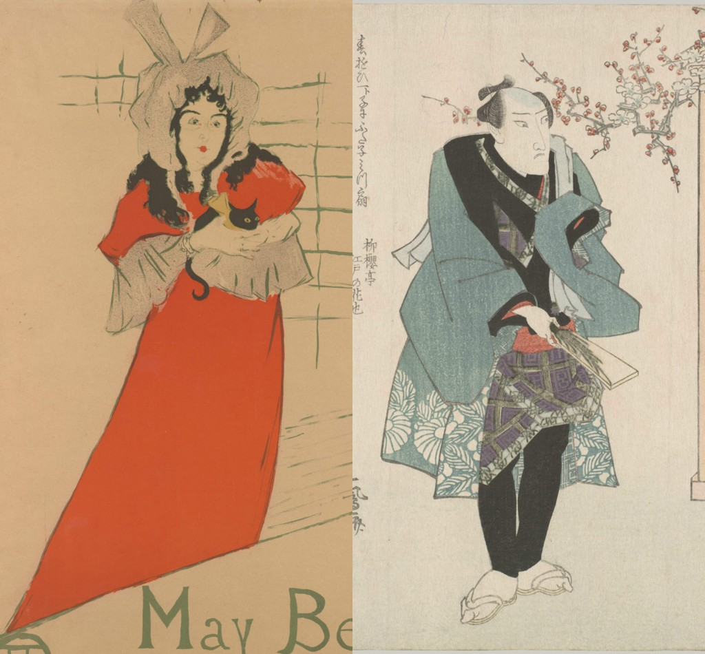 Side-by-side images showing how Henri de Toulouse Lautrec imitated the compositions and postures he found in Japanese kabuki theatre prints