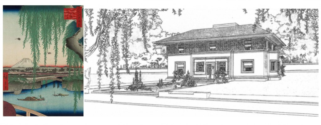 At left, a print by great Japanese ukiyo-e printmaker Ando Hiroshige seems to have provided a reference for American architect Frank Lloyd Wright's choice to frame his elevation drawing of the Winslow House in River Forest, Illinois, with draping vegetation in 1910. Image via the Smithsonian Magazine.