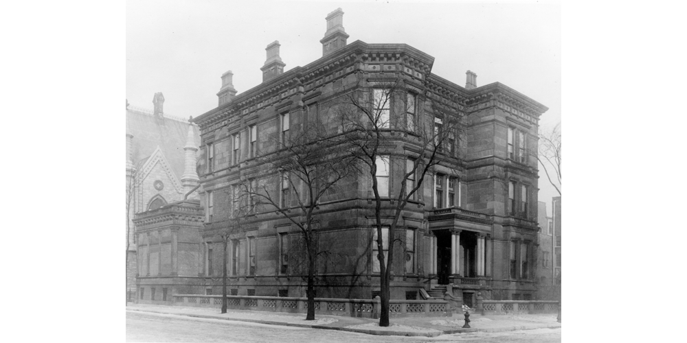 The Nickerson Mansion at Cass [Wabash] and Erie, c. 1910.